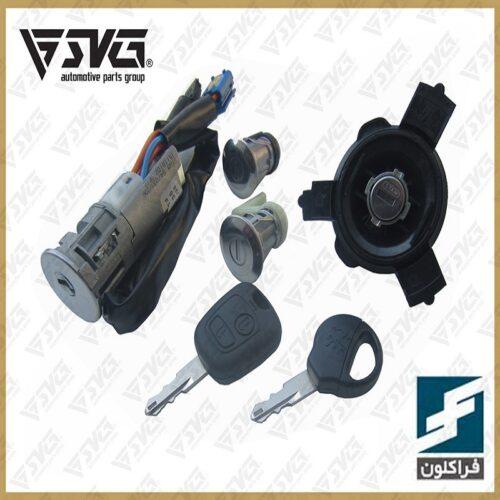 مجموعه سوییچ کامل پژو 206 با ریموت و یک کلید یدک فراکلون